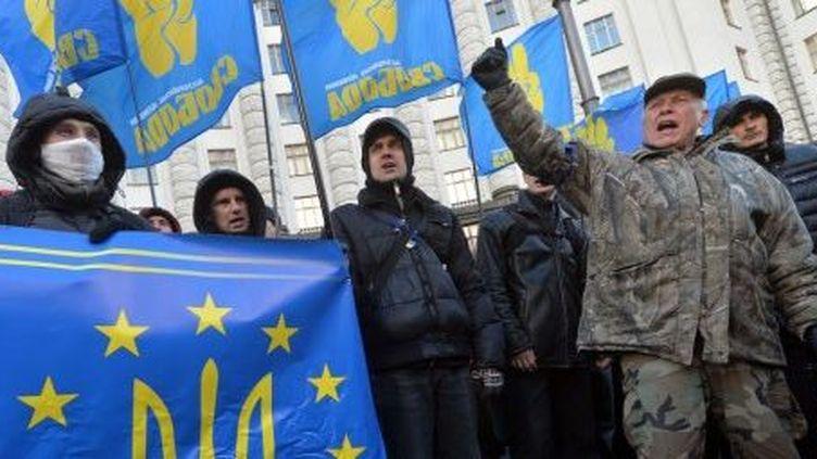 Des partisans du parti Svoboda manifestent à Kiev, le 2 décembre 2013. (SERGEI SUPINSKY / AFP)