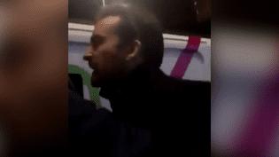 Capture d'écran d'une vidéo montrant Davy Rodriguez, assistant parlementaire du FN, s'en prendre à un vigile, le 9 mars 2018. (TWITTER)