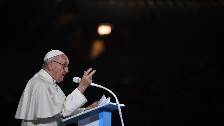 Le pape François lors de sa visite en Irlande, le 26 août 2018. (BEN STANSALL / AFP)