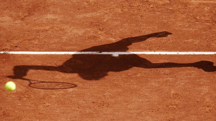 L'ombre de l'Espagnol David Ferrerau stade tournoi de Roland Garros à Paris, le 29 mai 2014. (KENZO TRIBOUILLARD / AFP)