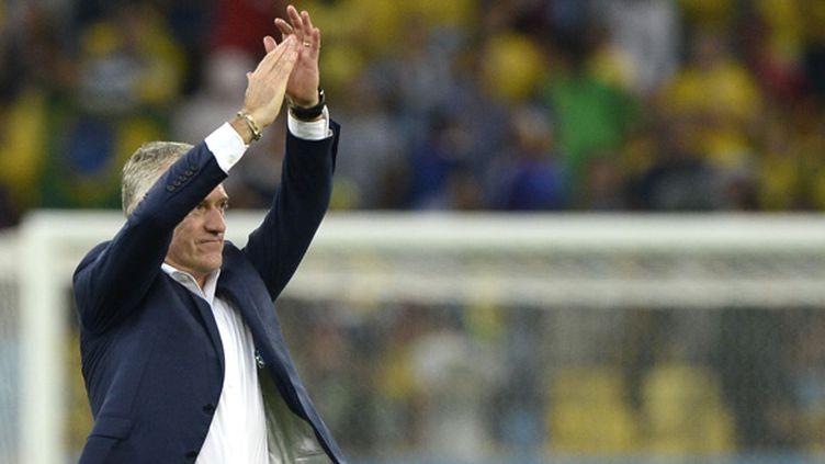 Didier Deschamps, satisfait à l'issue du match face à l'Equateur et déjà tourné vers le huitième de finale face au Nigéria. (FRANCK FIFE / AFP)