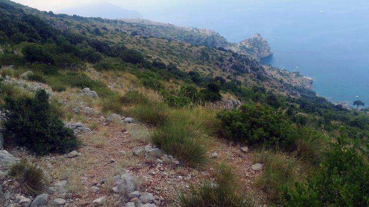Le secteur où étaient concentrées les recherchesde Simon Gautier, le 16 août 2019, au sud de Naples, en Italie. (SOCCORSO ALPINO E SPELEOLOGICO / AFP)