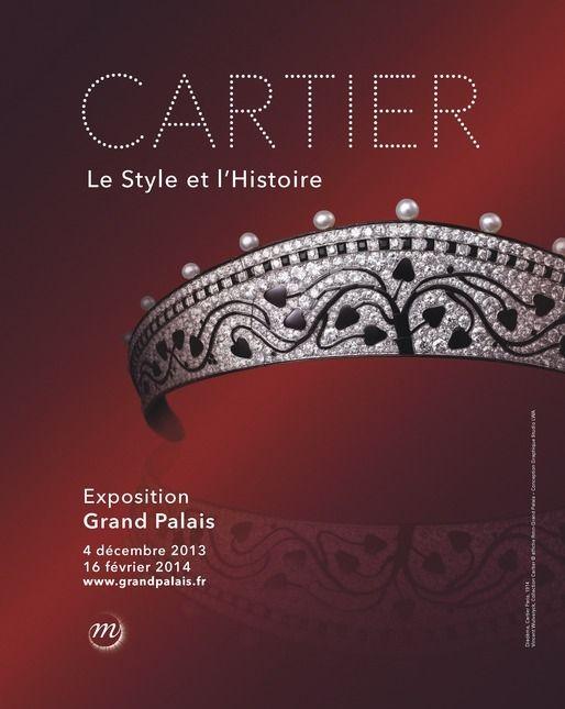 """Affiche de l'exposition """"Cartier : le style et l'histoire"""" avec un diadème Cartier Paris, 1914.Vincent Wulveryck, Collection Cartier  (affiche Rmn-Grand Palais)"""
