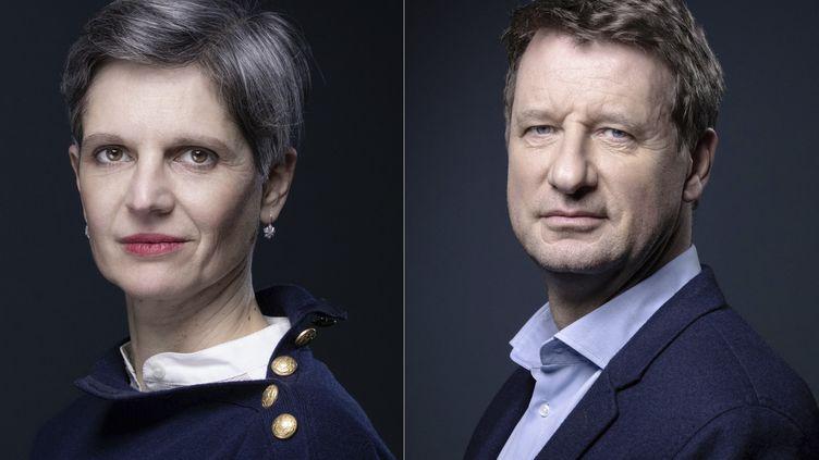 122 000 inscrits à la primaire écologisteont voté samedi 25 septembre pour choisir leur candidat à l'élection présidentielle. Résultat mardi 28 septembre. Sandrine Rousseau à gauche et Yannick Jadot à droite. (JOEL SAGET / AFP)