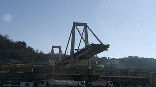 Les ruines du pont effondré de Gênes (Italie), le 15 décembre 2018. (FILIPPO MONTEFORTE / AFP)