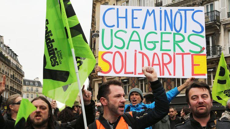 Manifestation des cheminot le 3 avril 2018  (SEVGI/SIPA)