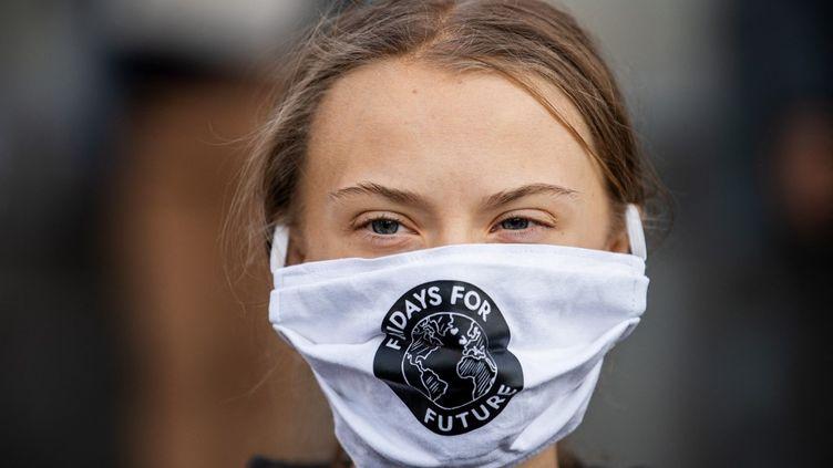 L'activiste Greta Thunberg participe à une manifestation devant le Parlement suédois, le 25 septembre 2020. (JONATHAN NACKSTRAND / AFP)