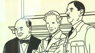 Autoportrait de Floc'h, bien entouré par Winston Churchill et Charles de Gaulle. (France 3 Aquitaine / B-P. Morin)