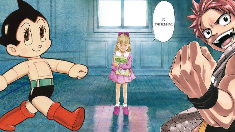 """Astro Boy"" (Osamu Tezuka) ""Monster"" (Naoki Urasawa), ""Fairy Tail"" (Hiro Mashima)"