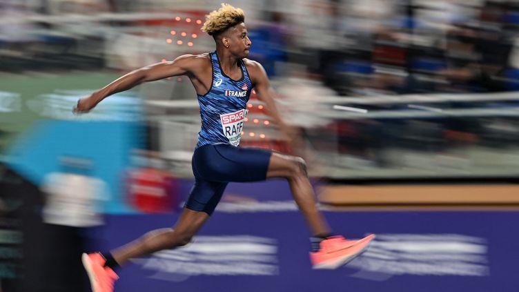 Melvin Raffin lors des Championnats d'Europe d'athlétisme en salle en mars 2021. (ANDREJ ISAKOVIC / AFP)