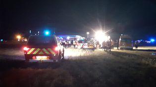 Un accident de voiture a décimé une famille sur l'autoroute A7. La famille était dans un véhicule, retrouvé en feu au bord de l'autoroute à la hauteur d'Albon (Drôme), le 20 juillet 2020. (NATHALIE RODRIGUES / FRANCE-BLEU DRÔME-ARDÈCHE)