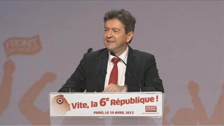 Jean-Luc Mélenchon en meeting, le 19 avril 2012 (FTV)