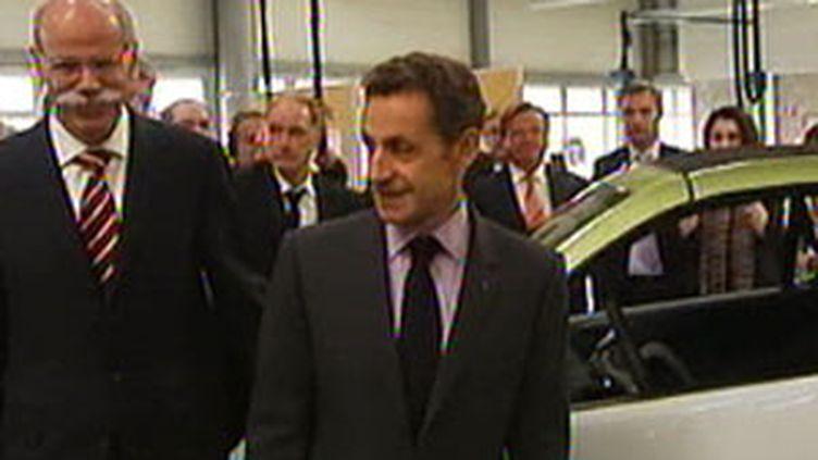 Nicolas Sarkozy lors de sa visite-éclair jeudi en Moselle (© France 2)