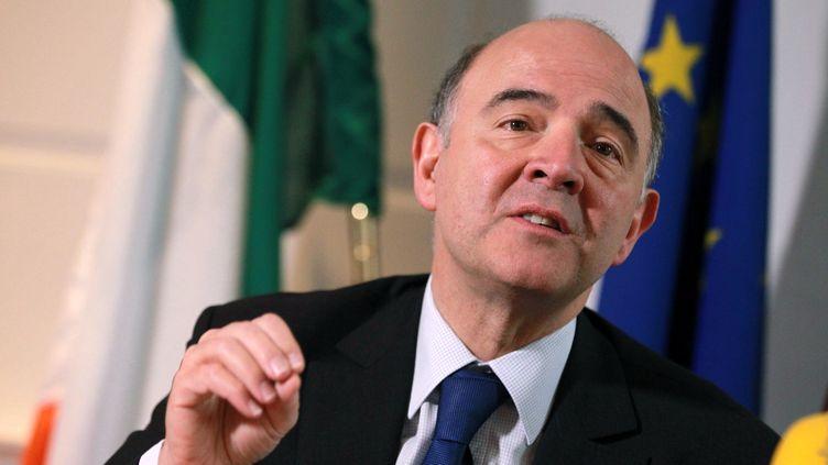 Pierre Moscovici, ministre de l'Economie, à Dublin (Irlande), le 18 janvier 2013. (PETER MUHLY / AFP)
