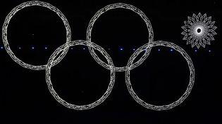 Le cinquième flocon de neige ne se transforme pas comme prévu en anneau olympique, lors de la cérémonie d'ouverture des Jeux d'hiver à Sotchi (Russie), le 7 février 2014. (DAVID GRAY / REUTERS)