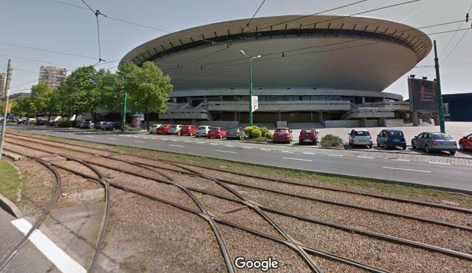 L'arrivée a eu lieu à côté de cette rame de tram (capture d'écran Google Maps)