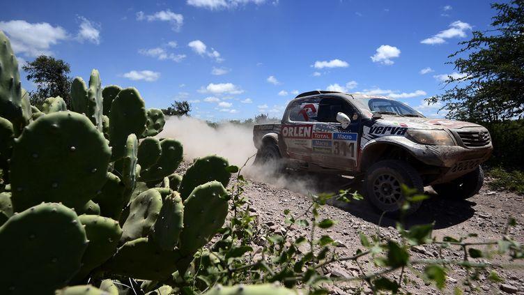 Une voiture de course Toyota, à Rosario (Argentine), lors de l'édition 2015 du Dakar. (FRANCK FIFE / AFP)
