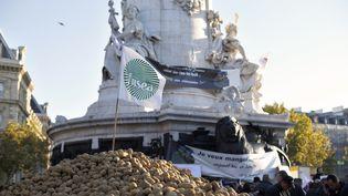 A Paris, les agriculteurs ont déversé des monceaux de pommes de terre, le 5 novembre, place de la République à Paris, à l'appel de la FNSEA. (THOMAS SAMSON / AFP)