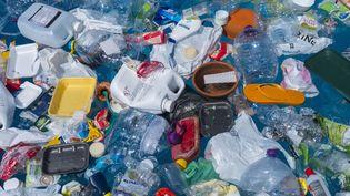 Des déchets en plastique retrouvés dans l'océan, au Portugal, le 20 août 2018. (PAULO DE OLIVEIRA / BIOSPHOTO / AFP)
