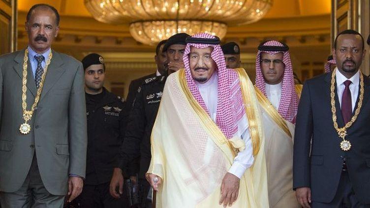 Le président de l'Erythrée, Isaias Afwerki (à gauche), et lePremier ministre de l'Ethiopie, Abiy Ahmed (à droite), lors d'une cérémonie de signature organisée par le roi d'Arabie Saoudite, Salman bin Abdulaziz Al Saoud, au palais royal d'Al-Salam à Djeddah (Arabie saoudite), le 16 juillet 2018.  (Bandar Algaloud/Royaume d'Arabie Saoudite/AGENCE ANADOLU)