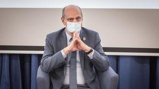 Le ministre de l'Education nationale, Jean-Michel Blanquer, àNort-sur-Erdre (Loire-Atlantique), le 15 février 2021. (BAPTISTE ROMAN / HANS LUCAS / AFP)