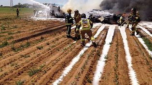 Les débris de l'avion militaire A400M d'Airbus qui s'est écrasé le 9 mai 2015 près de l'aéroport de Séville (Espagne). (BOMBEROS DEL AYUNTAMIENTO DE SEV / AFP)