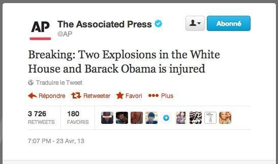 Capture d'écran du compte Twitter de l'agence AP, piraté, qui annonce une double explosion à la Maison Blanche, le 23 avril 2013. (TWITTER)