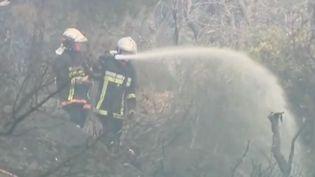 Des pompiers interviennent pour un incendie sur la Côte d'Azur. (FRANCE 2)
