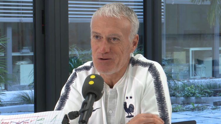 Didier Deschamps, interviewé par Jacques Vendroux. (FRANCEINFO / RADIO FRANCE)