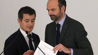 Gérald Darmanin etÉdouard Philippe à Paris, le 1er février 2018. (JACQUES DEMARTHON / AFP)