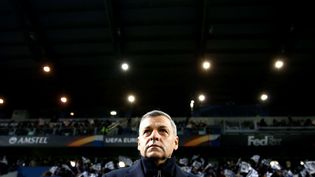 L'entraîneur de l'Olympique lyonnais, Bruno Genesio, lorsdu match de Ligue Europa contre l'Atalanta Bergame, au Mapei Stadium de Reggio Emilia(Italie), le 7 décembre 2017. (CIAMBELLI/SIPA)