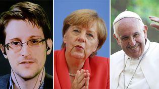 Le lanceur d'alerte Edward Snowden, la chancelière allemande, Angela Merkel, et le pape François (de gauche à droite), trois des favoris des bookmakers pour recevoir le prix Nobel 2015, le 9 octobre. (REUTERS)