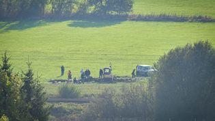 Des recherches pour retrouver le corps d'Anaïs Guillaume, à Fromy (Ardennes), le 29 octobre 2019. (MAXPPP)