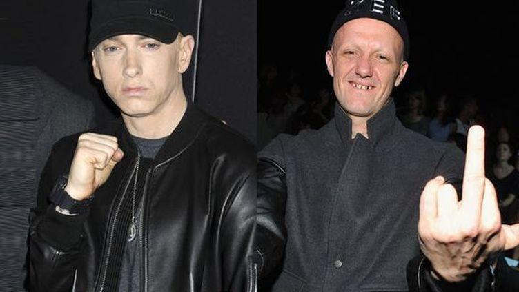 Entre Eminem (à gauche) et Ninja de Die Antwoord, ce n'est pas l'amour fou. (THEO WARGO / GETTY / AFP –  GEISLER-FOTOPRES / AFP)