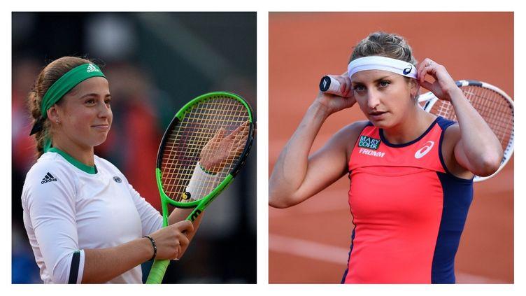 Les deux joueuses Jelena Ostapenko et Timea Bacsinszky
