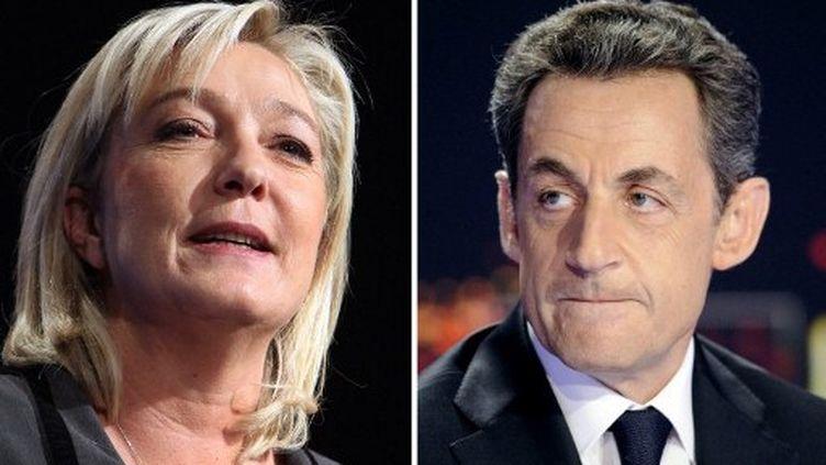 """Marine Le Pen juge normal de """"mettre Nicolas Sarkozy face à son bilan"""". (LIONEL BONAVENTURE / POOL / AFP)"""