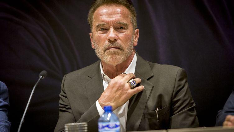 L'acteur et ancien gouverneur de Californie,Arnold Schwarzenegger, lors d'une conférence de presse à Barcelone en Espagne, le 23 septembre 2016. (ALBERT LLOP / ANADOLU AGENCY)