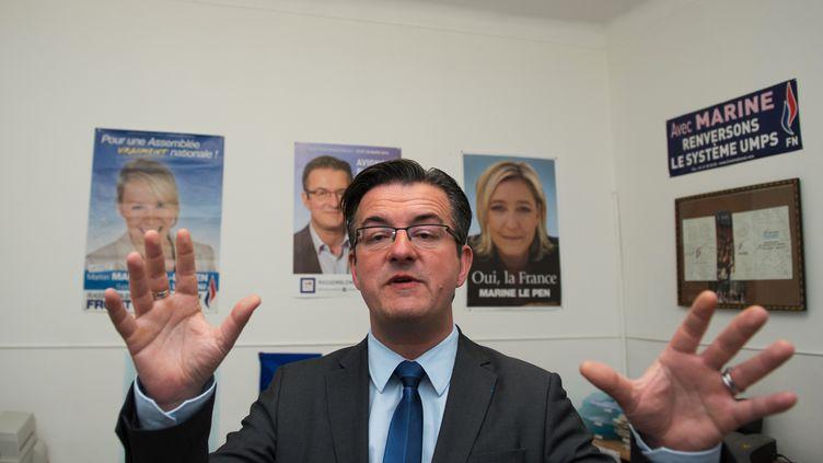 Philippe Lottiaux,candidat du Rassemblement Bleu Marine aux municipales en Avignon (Vaucluse), le 23 mars 2014. (BERTRAND LANGLOIS / AFP)