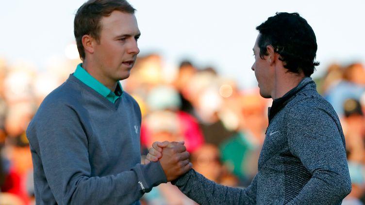 Les deux meilleurs joueurs du monde, Jordan Spieth et Rory McIlroy au Masters d'Augusta en 2016 (KEVIN C. COX / GETTY IMAGES NORTH AMERICA)