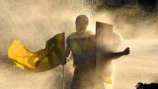 """Un canon à eau utilisé lors de la manifestation des """"gilets jaunes"""" à Bordeaux (Gironde), le 23 février 2019. (GEORGES GOBET / AFP)"""