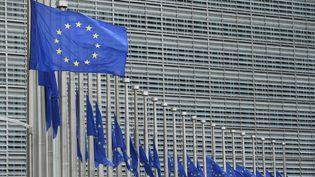 Des drapeaux européens devant la Commission européenne à Bruxelles (Belgique). (JOHN THYS / AFP)