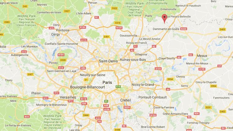 Le suspect a été interpellé à Othis (Seine-et-Marne), à proximité du lieu de l'agression qui s'est déroulée, mercredi 4 juillet 2018. (GOOGLE MAPS / FRANCEINFO)