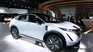 Présentation d'un nouveau modèle de SUV du constructeur Nissan, le 14 juillet 2020 à Yokohama (Japon). (KAZUHIRO NOGI / AFP)