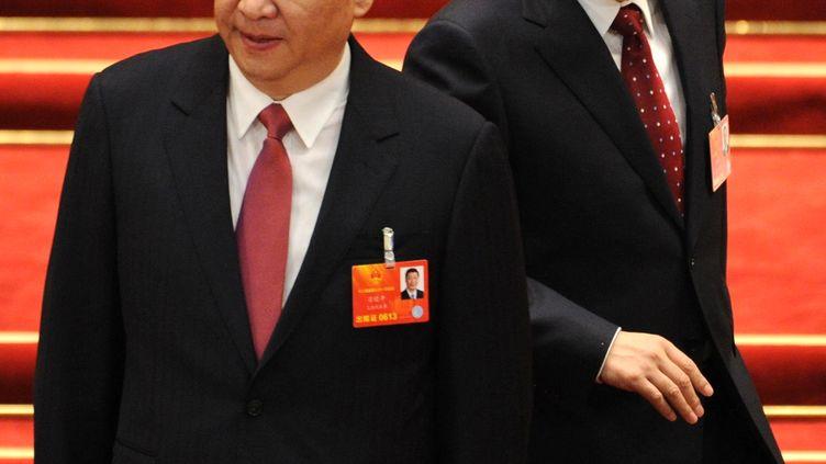 Le président chinois, Xi Jinping, et le Premier ministre Li Kequiang, le 14 mars 2013 à Pékin. (MITSURU TAMURA / YOMIURI / AFP)
