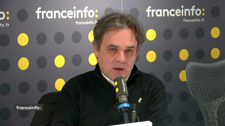 Riss, le directeur de la rédaction de Charlie Hebdo, sur franceinfo mardi 7 janvier. (FRANCEINFO / RADIOFRANCE)