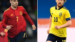Alvaro Morata (Espagne) et Emil Forsberg (Suède). (KIRILL KUDRYAVTSEV / AFP)