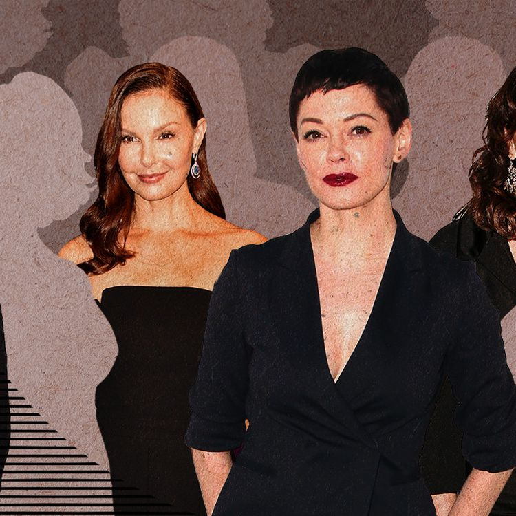 De nombreuses actrices etanciennes collaboratrices, des mannequins et des anonymes, ont mis en causeHarvey Weinstein dans les médias et sur les réseaux sociaux depuis 2018. (JESSICA KOMGUEN / FRANCEINFO)
