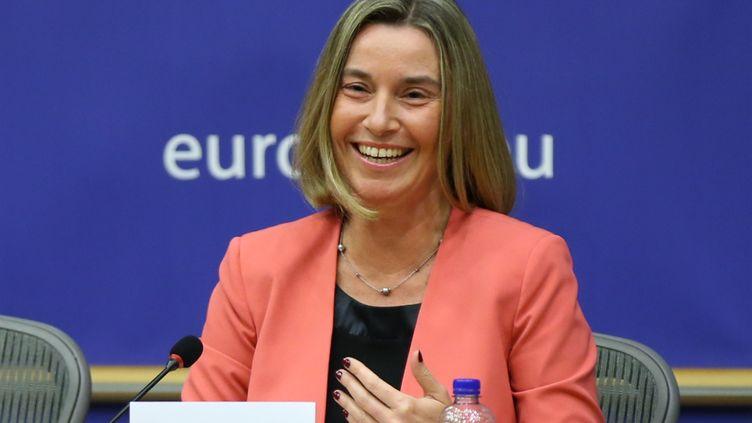 La haute représentante de l'Union européenne pour les affaires étrangères, Federica Mogherini, à Bruxelles le 20 mars 2018. (DURSUN AYDEMIR / ANADOLU AGENCY)
