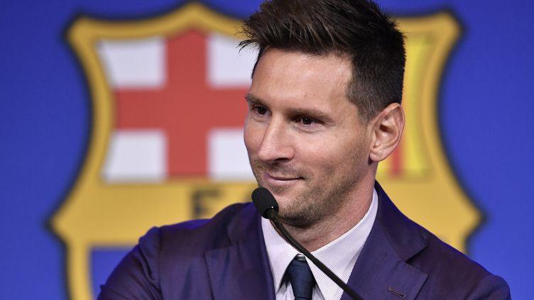 Lionel Messi lors de l'annonce de son départ du FC Barcelone, dimanche 8 août. (PAU BARRENA / AFP)