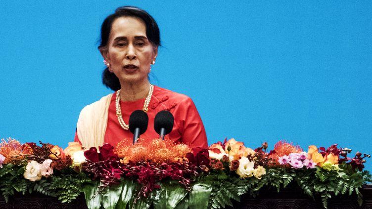La dirigante birmane Aung San Suu Kyi, le 1er décembre à Pékin (Chine). (FRED DUFOUR / AFP)